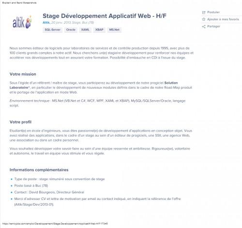 Stage, développement Web; .net, WPF, XAML, XBAP